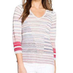 Nic + Zoe Skyline Linen Striped Sweater Top Pink